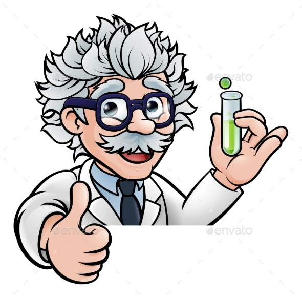 Cartoon Scientist Holding Test Tube Thumbs Up - People Characters