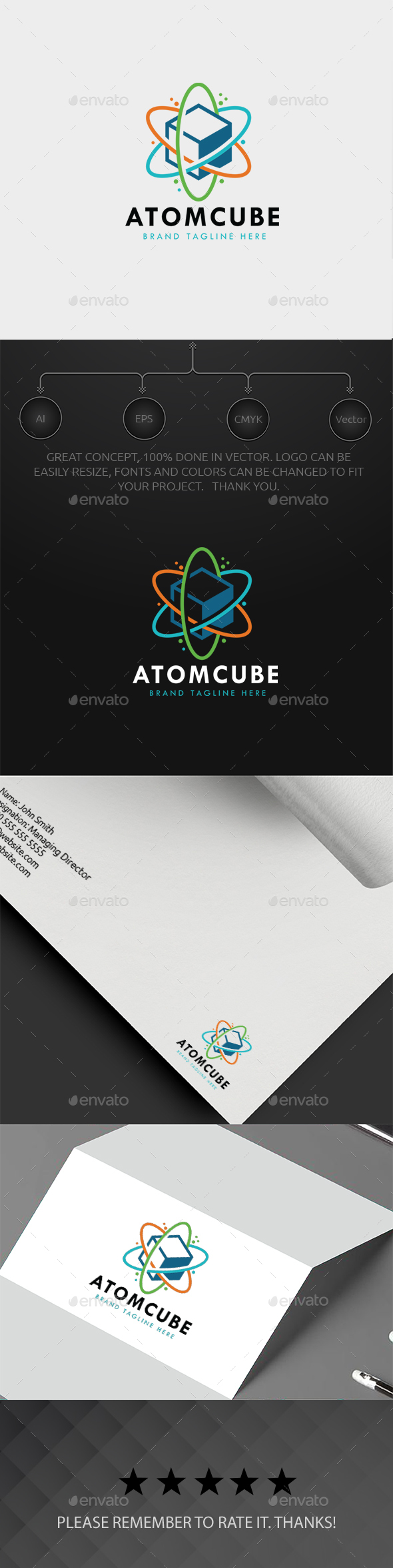 Atomic Cube Logo - Abstract Logo Templates