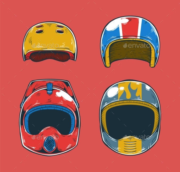 Extreme Sports Helmets - Man-made Objects Objects