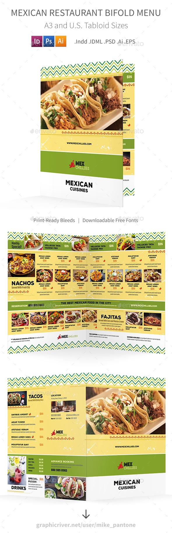 Mexican Restaurant Bifold / Halffold Menu 2 - Food Menus Print Templates