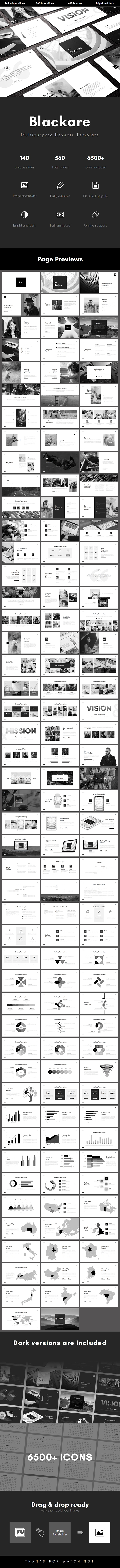 Blackare Multipurpose Keynote Template - Creative Keynote Templates