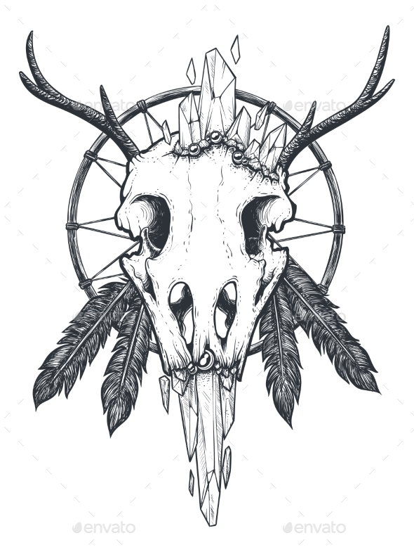 Crow Skull Totem - Animals Characters