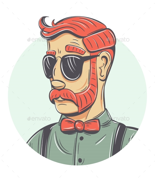 Vector Hipster Portrait - People Characters