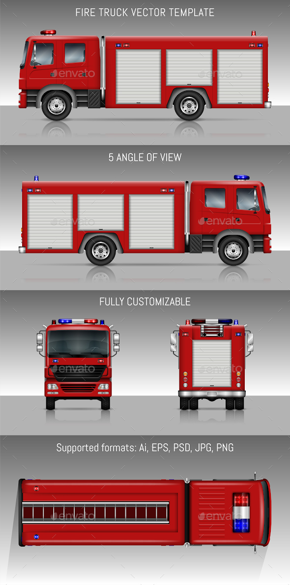 Fire truck vector template by yurischmidt graphicriver fire truck vector template man made objects objects maxwellsz