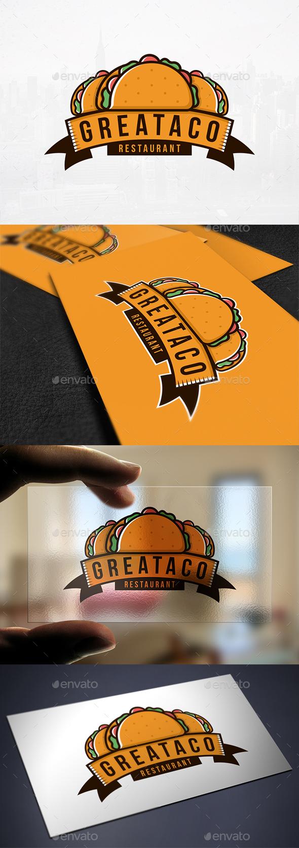 Taco Food Emblem Logo - Food Logo Templates
