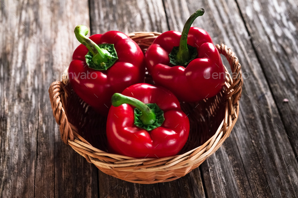 Fresh red peppers  - Stock Photo - Images