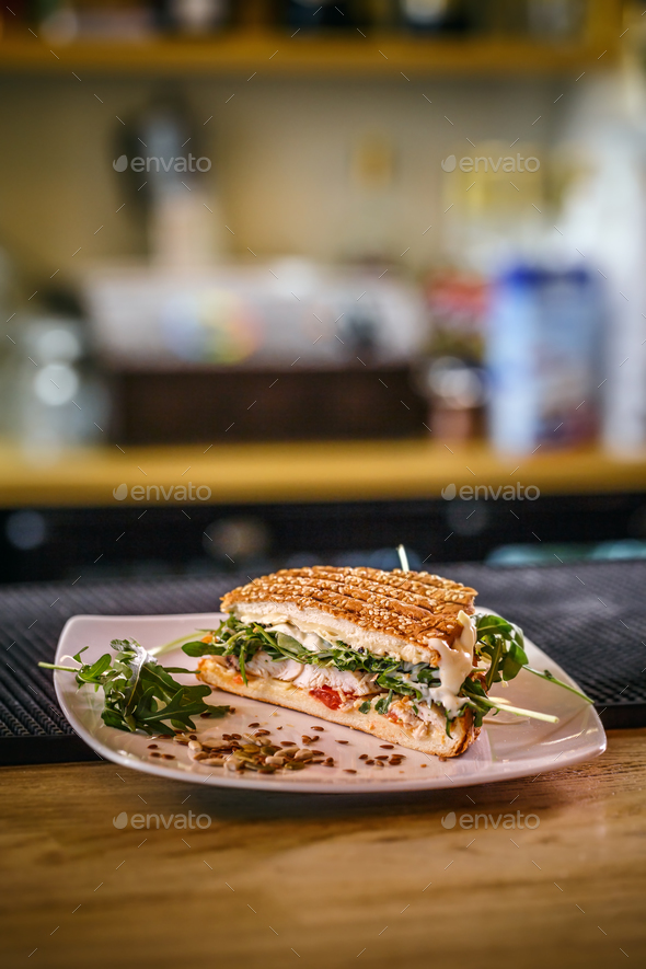 Healthy grilled chicken sandwich - Stock Photo - Images