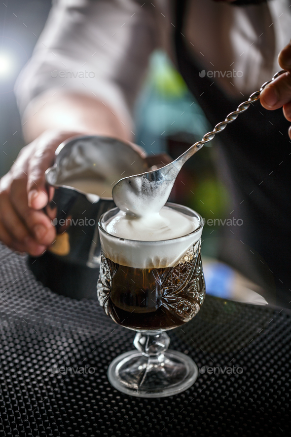 Coffee with irish whiskey - Stock Photo - Images