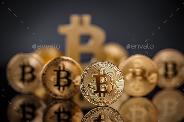 Many gold bitcoins - Stock Photo - Images