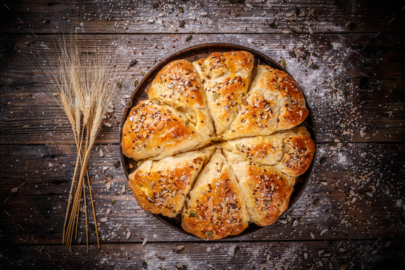 Bread in the form of a flower - Stock Photo - Images