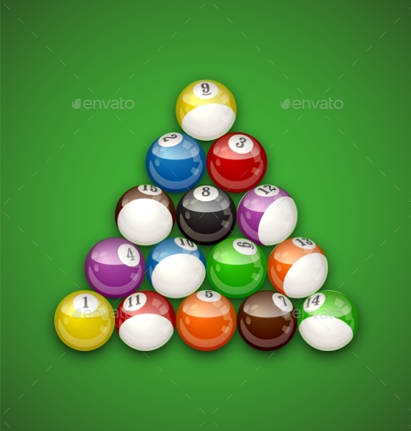 Billiard Balls Illustration - Man-made Objects Objects