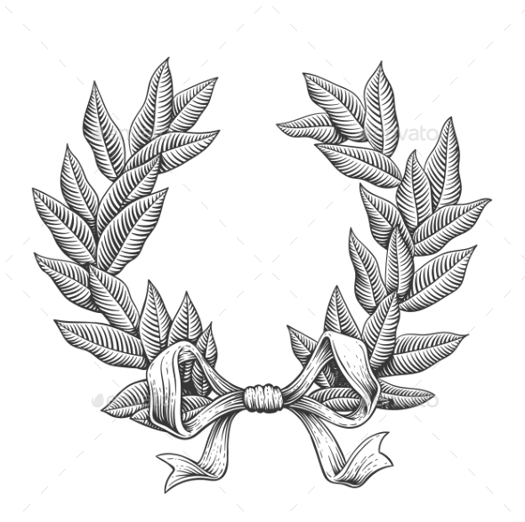 Line Art Laurel Wreath - Miscellaneous Vectors