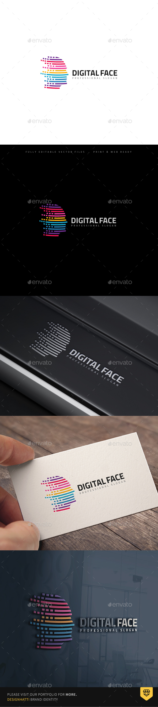 Virtual Colorful lines Human Head Logo - Humans Logo Templates