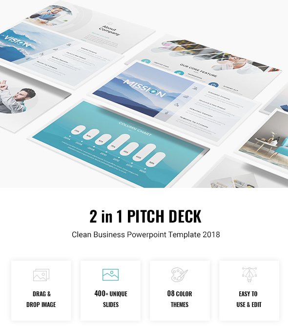 2 in 1 Pitch Deck - Clean Business Powerpoint Template 2018 - Business PowerPoint Templates
