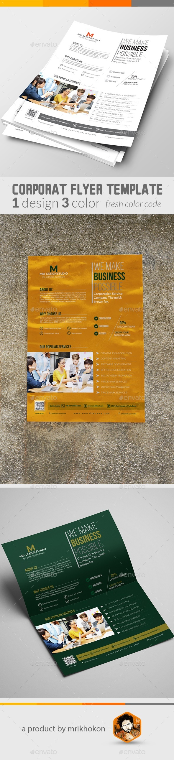 Corporate Flat Flyer Template - Corporate Flyers