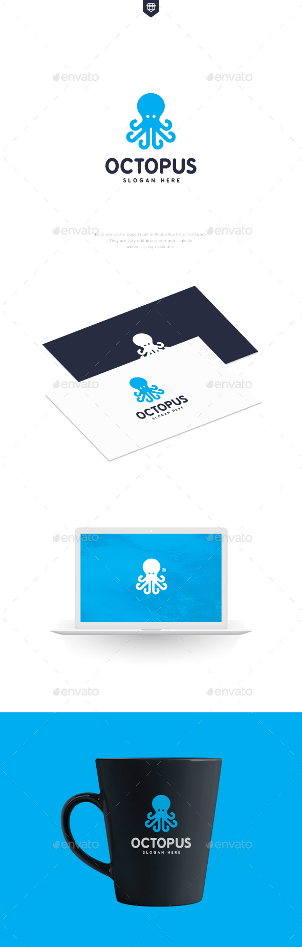 Abstract Octopus Logo - Animals Logo Templates