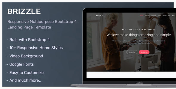 Brizzle - Responsive Bootstrap 4 Landing Page Template - Landing Pages Marketing