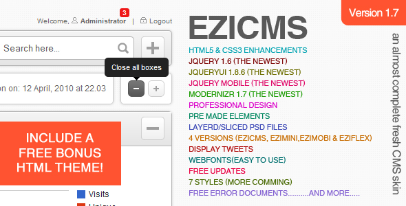 Free Download eziCMS an Almost Complete Fresh CMS Skin Nulled Latest Version
