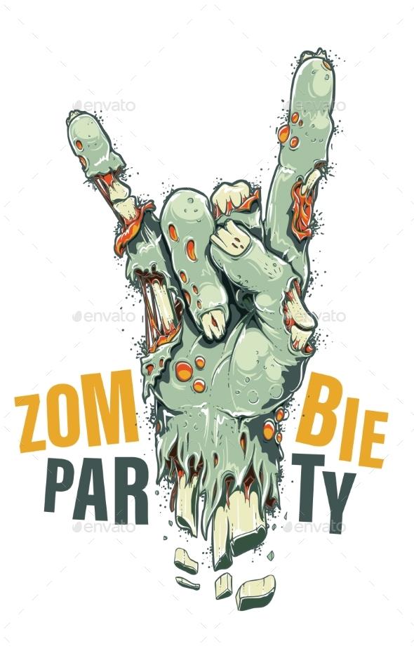 Zombie Hand on White - Miscellaneous Vectors