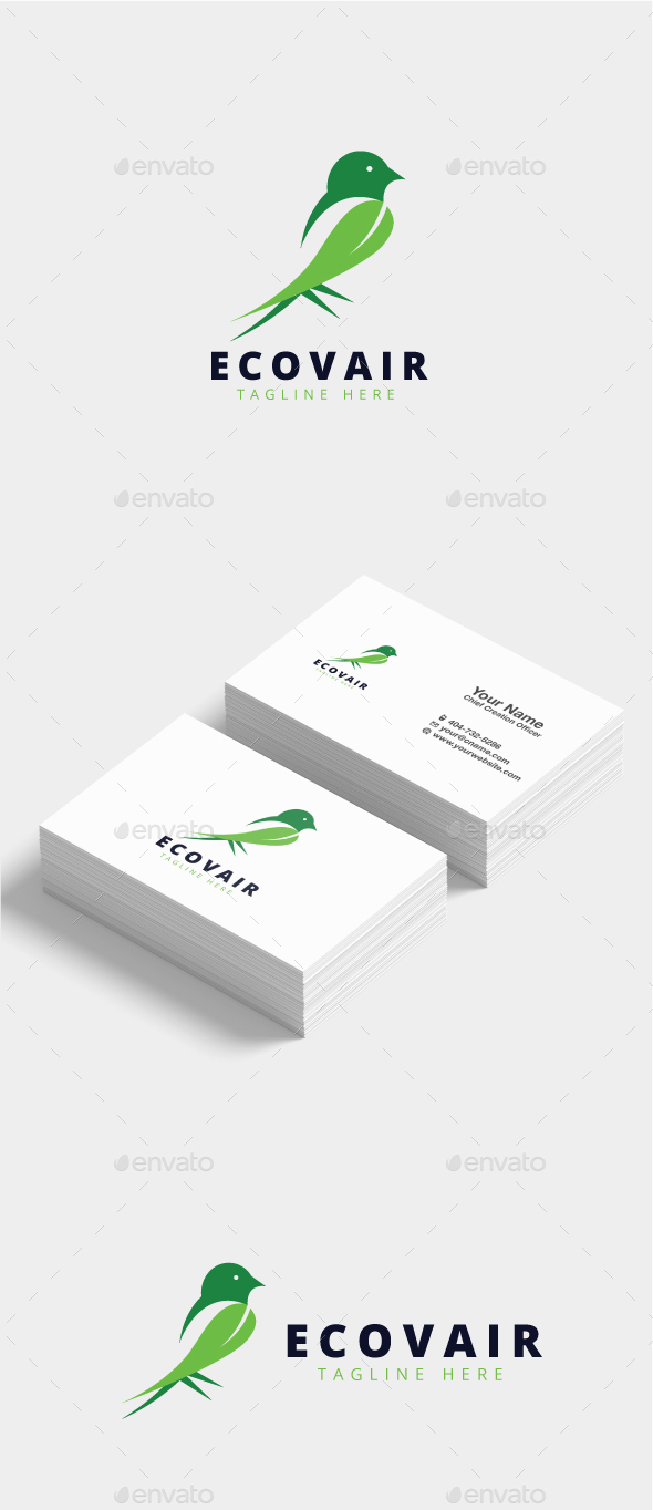 Ecovair Green Bird Logo - Animals Logo Templates