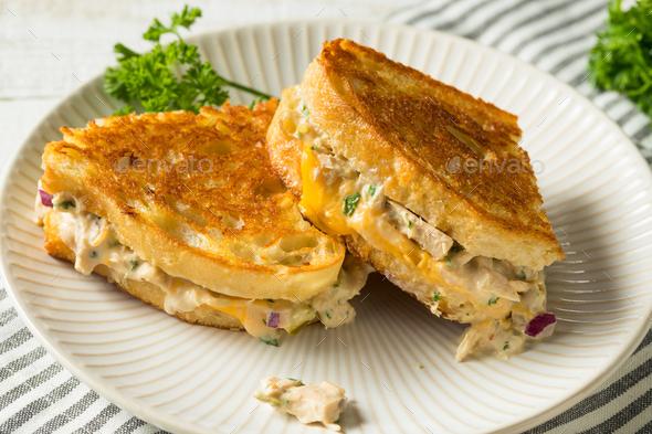 Homemade Toasted Tuna Melt Sandwich - Stock Photo - Images