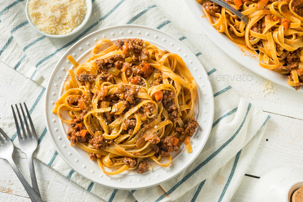 Homemade Italian Ragu Sauce and Pasta - Stock Photo - Images
