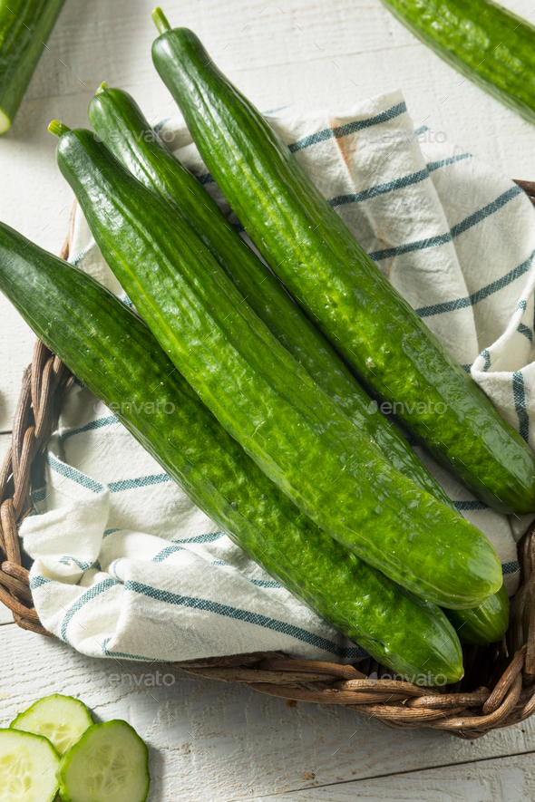 Healthy Organic Green English Cucumbers - Stock Photo - Images