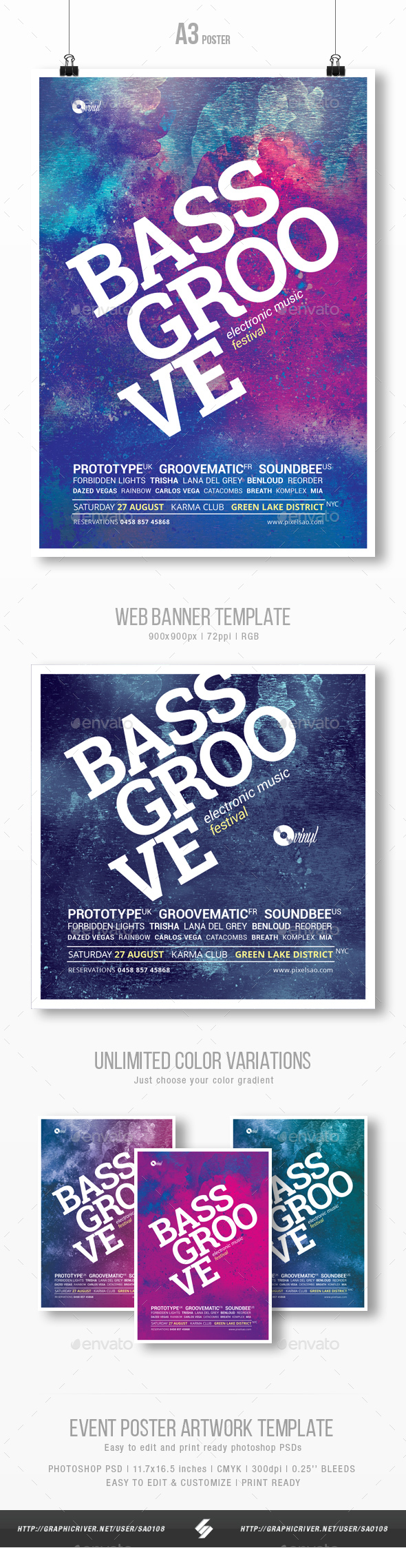 Bass Groove - Party Flyer / Poster Template A3 - Clubs & Parties Events
