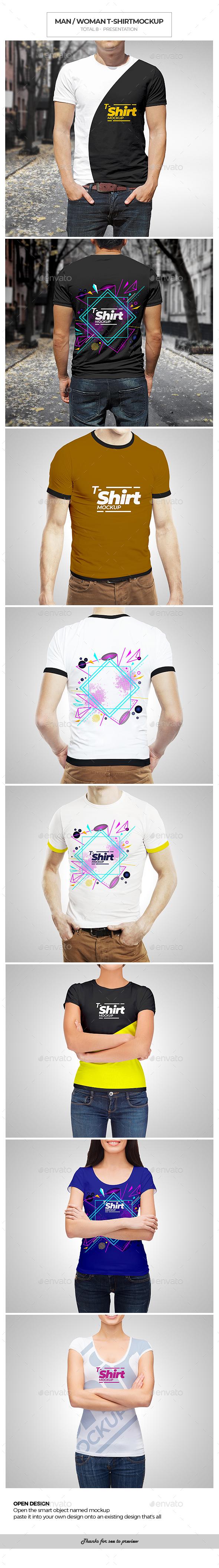 Man / Woman T-shirt Mockup - T-shirts Apparel