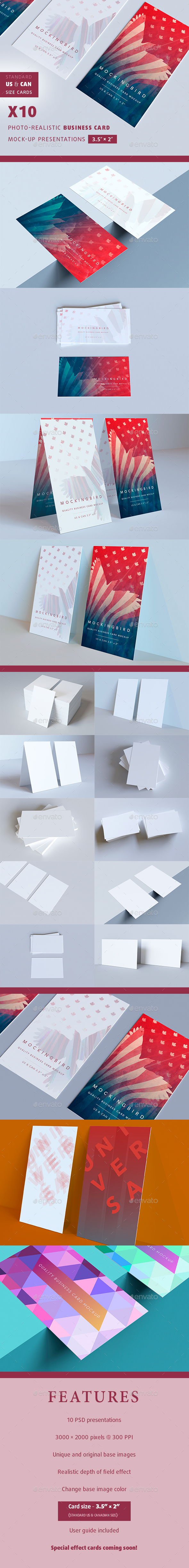 3.5 x 2 inch Realistic Business Card Mock-ups - Business Cards Print