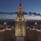 Moscow State University Main Campus and Moscow Cityscape at Winter Twilight. Russia. Aerial View - VideoHive Item for Sale