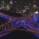 Elevated Road Intersection at Night with Blue Illumination Shanghai, China Aerial View - VideoHive Item for Sale