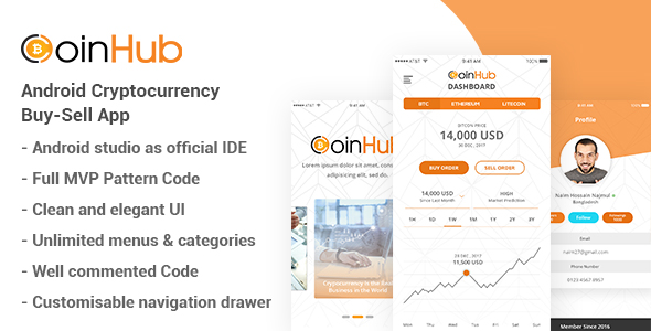CoinHub - Android Cryptocurrency Buy Sell App - CodeCanyon Item for Sale
