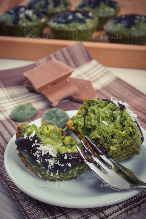 Vintage photo, Fresh muffins with spinach, desiccated coconut and chocolate glaze - Stock Photo - Images