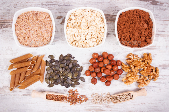 Products and ingredients containing copper and dietary fiber, healthy nutrition - Stock Photo - Images