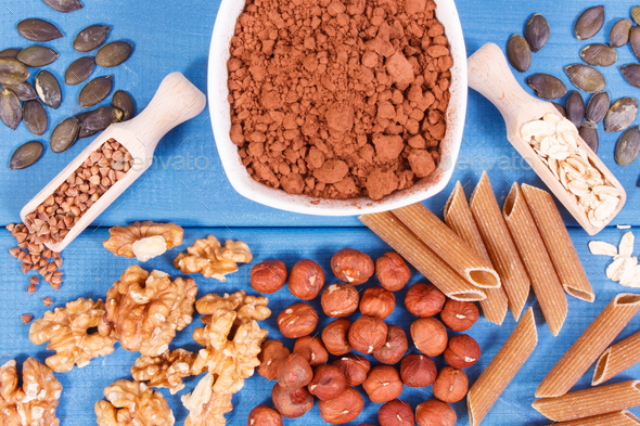 Natural ingredients as source copper, minerals and dietary fiber - Stock Photo - Images