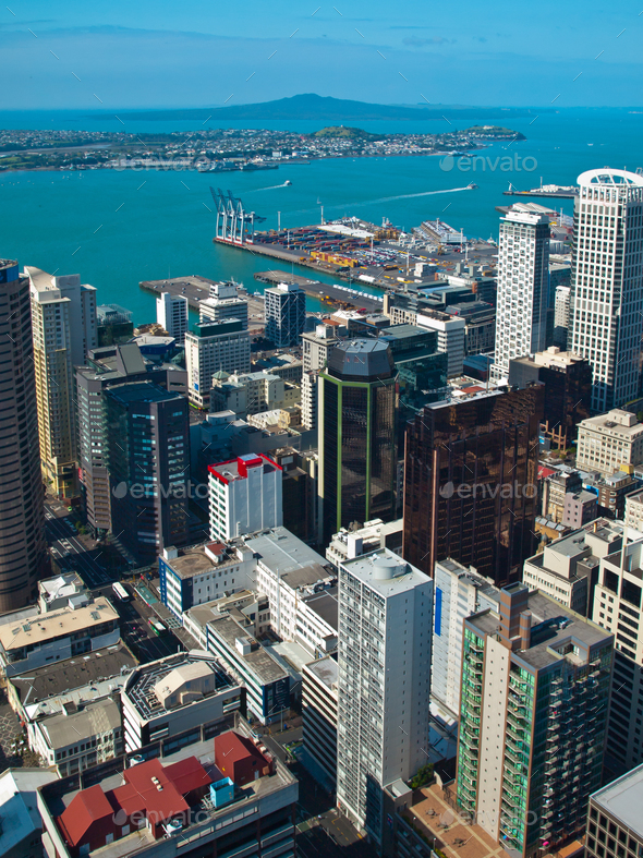 Aerial view over Auckland city - Stock Photo - Images