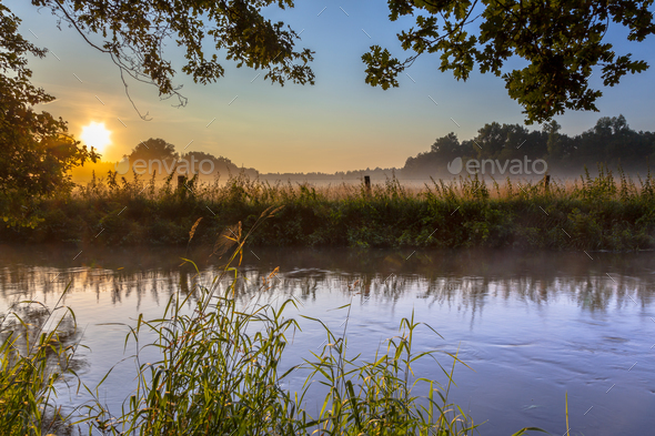 Dinkel Creek with fog on early morning - Stock Photo - Images