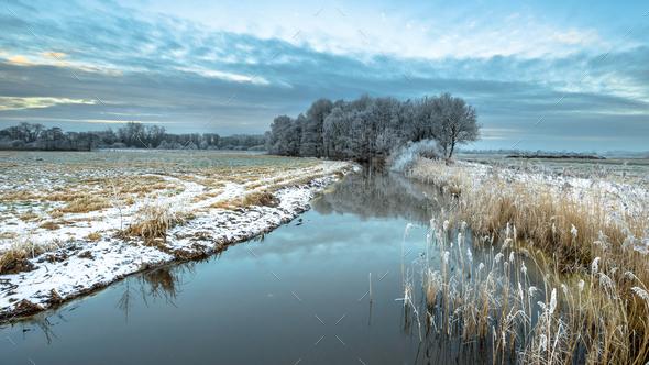 Frozen river Drentsche Aa in province of Drenthe - Stock Photo - Images