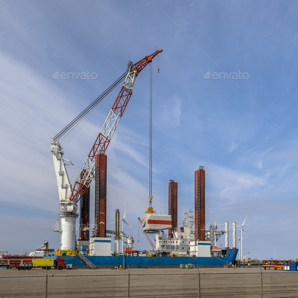 Offshore wind energy supply vessel - Stock Photo - Images