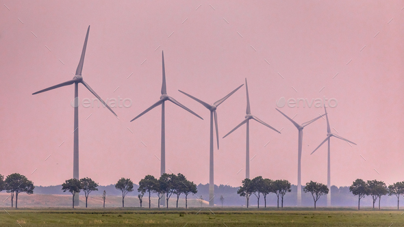Row of wind turbines in open countryside - Stock Photo - Images