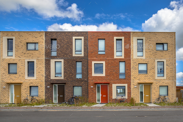 Four Modern Social housing apartments - Stock Photo - Images