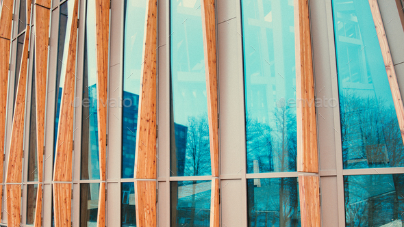 Detail of sustainable academy building instagram toning - Stock Photo - Images