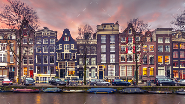Canal houses on the Brouwersgracht in Amsterdam in vintage tonin - Stock Photo - Images