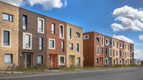 Modern Social housing under blue sky - Stock Photo - Images