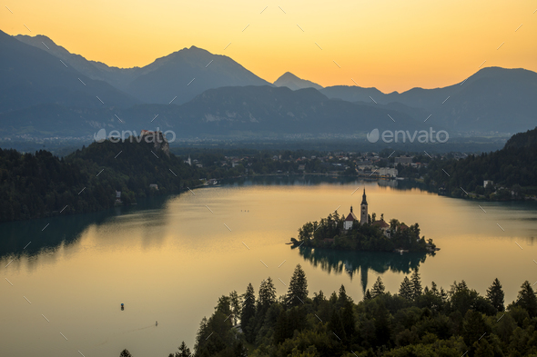 Aerial morning view of lake Bled - Stock Photo - Images
