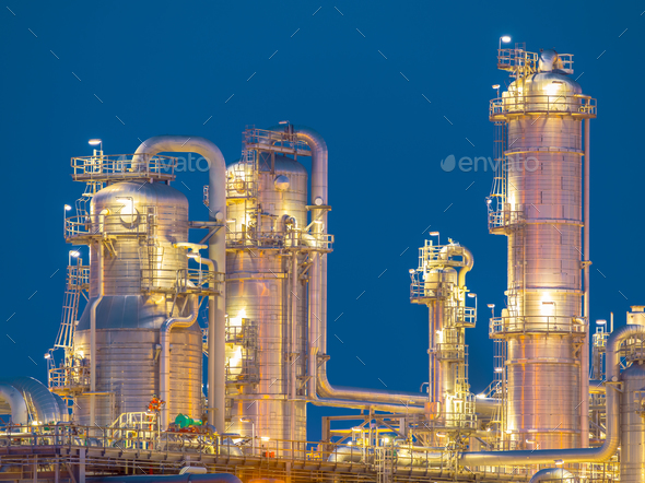 Detail of chemical Distillation towers - Stock Photo - Images