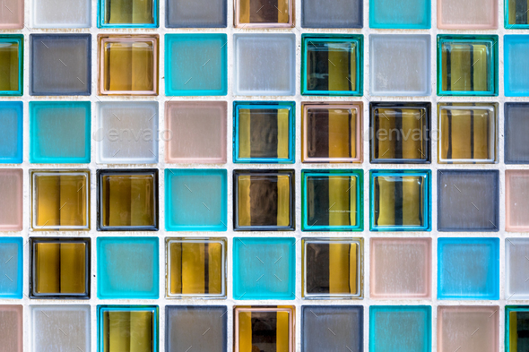 Wall of transparant glass boxes - Stock Photo - Images