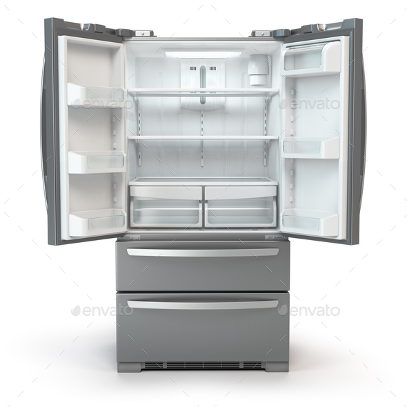 Open fridge freezer. Side by side stainless steel srefrigerator - Stock Photo - Images