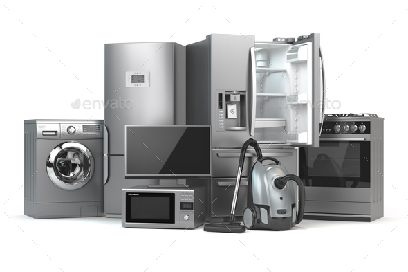 Home appliances. Set of household kitchen technics isolated on w - Stock Photo - Images
